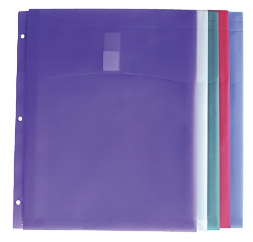 School Smart Poly Storage Envelopes for 3 Ring Binders - Pack of 5 - Assorted Colors (3 Ring Binder Storage compare prices)