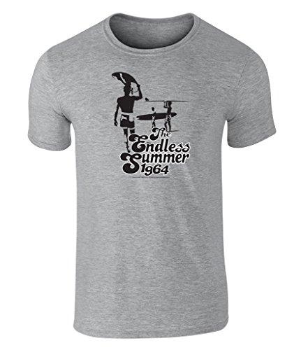the-endless-summer-1964-icon-grafik-unisex-t-shirt-offiziell-lizenziert-von-bruce-brown-films-grau-x