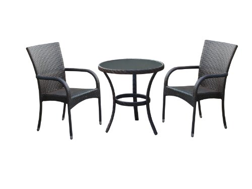 Dunloe Rattan Effect Indoor/ Outdoor Furniture Set includes Table/ 2 Chairs (3 Pieces)
