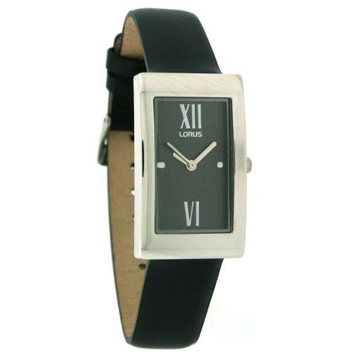 Lorus Silver Tone Watch Black Leather Grey dial