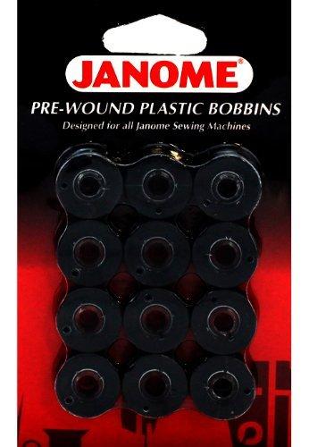 Janome 12 Pack Pre-Wound Plastic Bobbins Black Thread (Prewound Bobbins Janome compare prices)