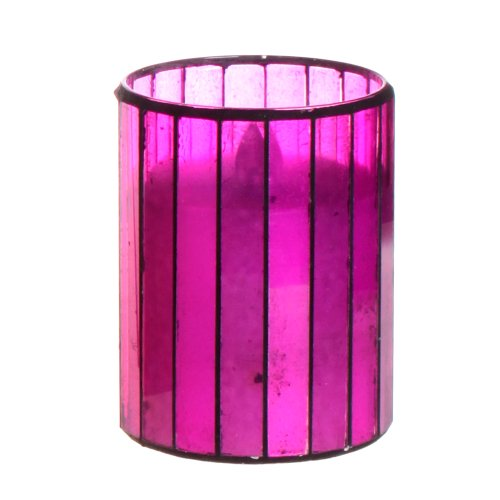 Dfl 3*4 Inch Amaranth Vertical Stripes Mosaic Glass Flameless Led Candle With Timer,Work With 2 Aa Battery