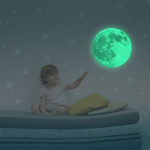Honice Removable Glow In The Dark Luminous Moon Wall Window Sticker Dia 30cm / 11.8 inch (Multicolor)