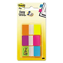 3M/COMMERCIAL TAPE DIV 680EGALT Flags in Portable Dispenser, Electric Glow, 60 Flags/Pack