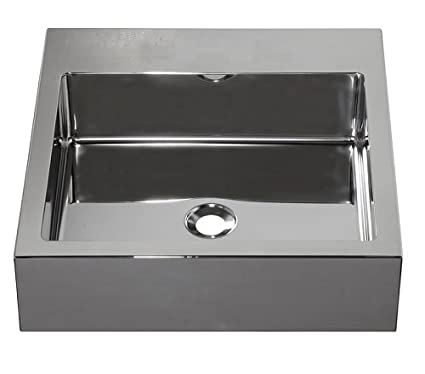Barclay Products 7-351SB Madison Square Stainless Steel Above Counter Basin with No Faucet Hole, Brushed Stainless