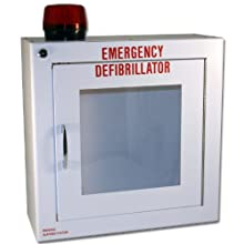 "First Voice TS180SM-14R Medium Surface Mounted AED Cabinet with Alarm and Strobe, 14"" Width x 14"" Height x 6.25"" Depth"