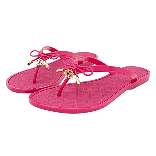 Tory Burch Jelly Bow Logo Charm Thong Sandal Saucy Pink (11) (Tory Burch Jelly compare prices)