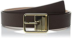 Cole Haan Women's Reversible Pebble Leather Strap with Center Bar Buckle Belt, Chestnut/Maple Sugar, X-Large
