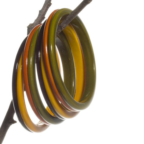 Wooden Bangle: Eco-Friendly & Colorful: Handmade & Fair Trade - Yellow & Plum