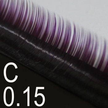 Extensions de cils bi-couleur -courbure C- boîte de 3000 cils environ Violet / Noir 0.15