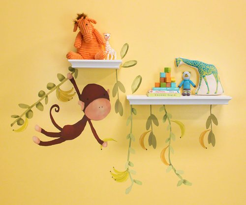 Oopsy Daisy 28 by 35-Inch Peel and Place Jungle Monkeys by Meghann O'Hara, Small