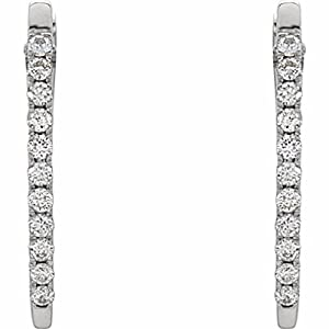 14K White Gold Diamond Hoop Earrings - 0.33 Ct.