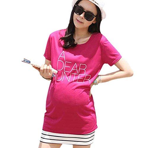 Froomer Pregnant Women'S Short Sleeve Letter T-Shirt Blouse Maternity Mini Dress