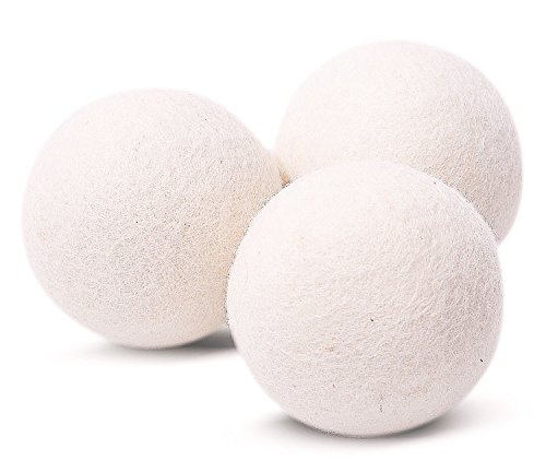 EcoJeannie (WB0003 - 3 Pack) Wool Dryer Balls - Premium XL Organic Eco-Friendly Natural Unscented Non-Toxic Felt Laundry Balls - Natural Anti-Static Chemical Free Fabric Softener Static Guard - Handmade in Nepal with 100% Natural New Zealand Premium Wool from Surface to Core. (Natural Fabric Softner Sheets compare prices)