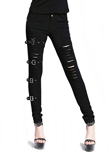 Jeans pantaloni trousers pants dilaniato Nero di Punk Rave Gothic Kei Mode nero M