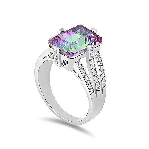 Aurora Tears Mystic Fire Topaz Zircon Gemstone White Gold-plated Diamond Ring R1M-9 (Mystic Fire Topaz Gem compare prices)