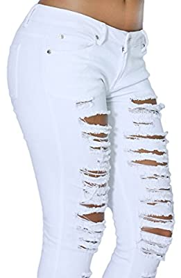 Women's Fashion Comfort Casual Ripped Denim Skinny Jean Full Length Collection