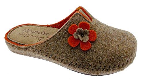 ciabatta tortora arancio panno lana cotta fiore extra large art 40760 40 tortora
