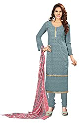 Khushali Presents Embroidered Georgette Dress Material(Grey)