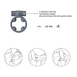 AUQITEK Super Powerful USB Rechargeable Cock Ring (Gray)