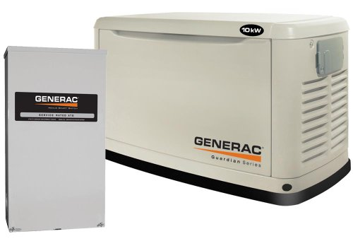 Generac Guardian Series 6051 10,000 Watt Air-Cooled Liquid Propane/Natural Gas Powered Standby Generator With Transfer Switch (Discontinued by Manufacturer)