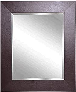 Rayne mirrors jovie jane wide brown leather wall mirror for Mirror 42 x 36