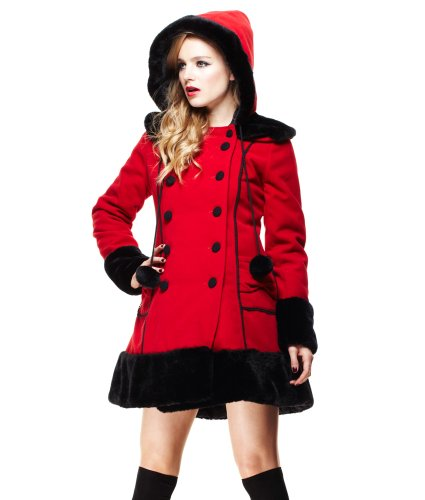 Hell Bunny Sarah Jane Winter Coat Red - US 6 (XS)