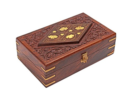 Decorative Wooden Jewelry Trinket Box Keepsake Organizer - Hand Carved Chest with Brass Inlay
