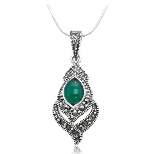 925 Oxidized Sterling Silver Tear Drop Swarovski Marcasite & Green Agate Pendant Necklace 18""