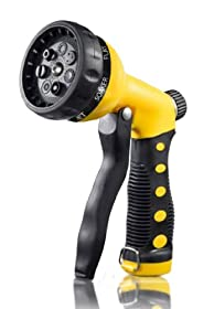 Hose Nozzle / Hand Sprayer - 7 Spray Settings Water Saving Plastic Garden Hose End Sprayer. Best Multi Purpose Attachment for Watering Lawn, Plants, Patio Cleaning, Home, Automotive / Car Wash Use - Ultimate 1 Year Replacement Warranty! Yellow Nozzle