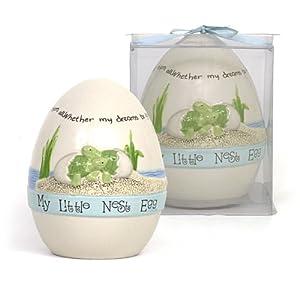 "Blue 6"" Round 7"" Tall Baby Boy Easter Ceramic Keepsake Nest Egg Bank with Display Box (Blue)"