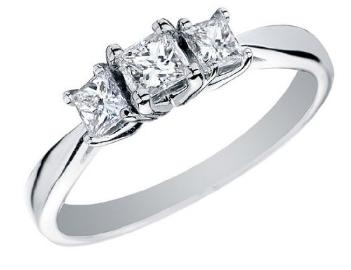 Princess Cut Diamond Engagement Ring and Three Stone Anniversary Ring 1/2 Carat (ctw) in 14K White Gold