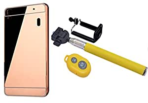 Novo Style Back Cover Case with Bumper Frame Case for Lenovo A7000 Rose Gold + Selfie Stick with Adjustable Phone Holder and Bluetooth Wireless Remote Shutter