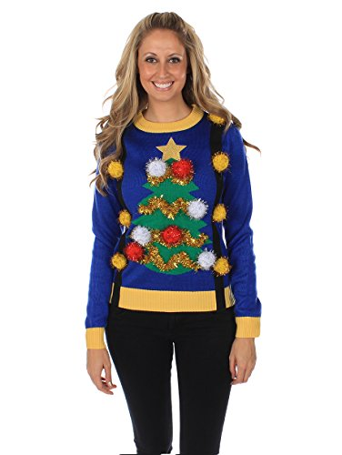Women's Tacky Xmas Tree Sweater w/ Suspenders by Tipsy Elves