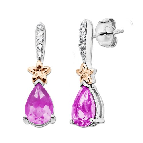 Sterling Silver and 14k Gold Created Pink Sapphire and Topaz Earrings
