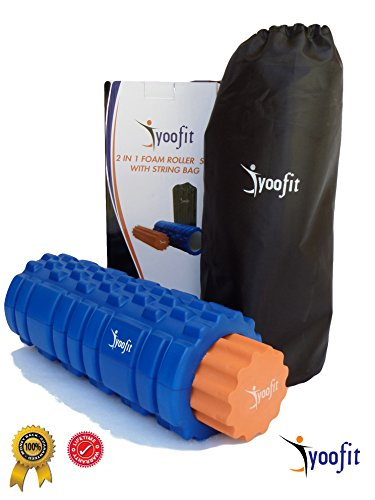 Yoofit 2 in 1 Foam Roller Set Plus FREE Travel String Bag/ Case, Soft and Firm Grid Textured Rollers for Trigger Point Muscle Massage, Yoga, Pilates, Physical Therapy or CrossFit Fitness Recovery (Perm Rods 1 Inch compare prices)
