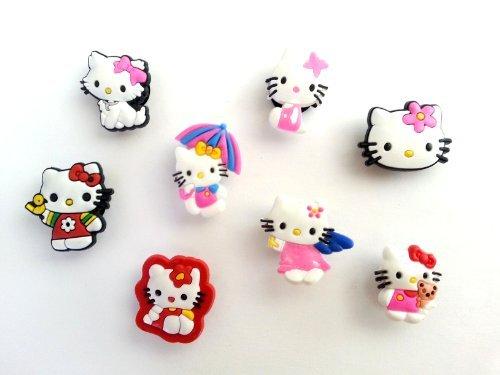 8 pezzi Hello Kitty # 1 Pendaglio di Gomma Decorazione set di Decorazione di Scarpa
