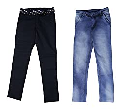 fourgee Boys Trousers- Pack of 2 (016-2 _6-7 Years, Multi-Coloured, 6-7 Years)
