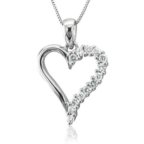 10k White Gold Heart Diamond Pendant Necklace (HI, SI3-I1, 0.25 carat)