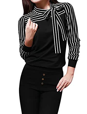 Allegra K Lady Bow Neck Blouse Stripe Long Sleeve Shirts Casual Fall Tops