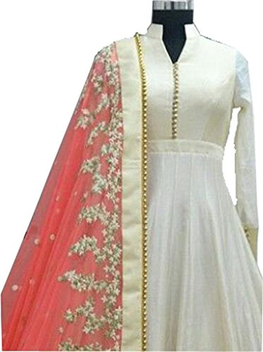 SK Fashion Women\'s White-Pink Color Semi-Stitched Bollywood Style Anarkali Salwar Suit/Gown