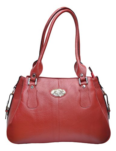 Red Leather Farm Duffly Handbag (Red)