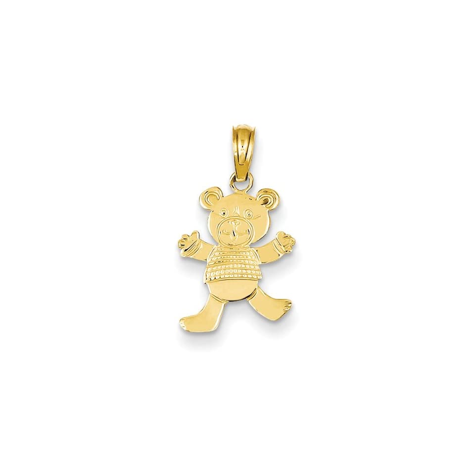 14k Playful Teddy Bear With Arms Pendant, Best Quality Free Gift Box Satisfaction Guaranteed Pendant Necklaces Jewelry
