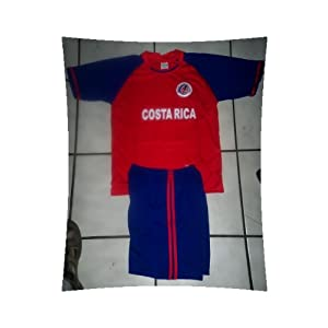 kids costa rica soccer set size 4 jersey and shorts -