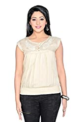 THINC MILY EMBROIDERED BEIGE RAYON TOP WITH STYLISH FRONT BUTTON