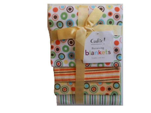 Cudlie Circles and Stripes 4 Pack Receiving Blankets