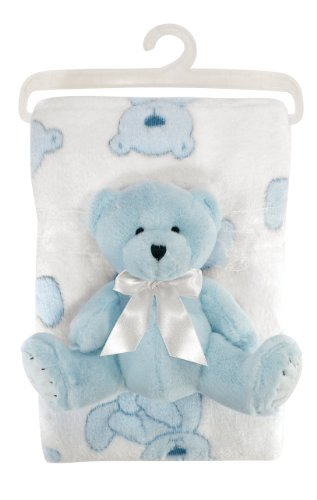 Stephan Baby Gift-to-Go Plush Pot-Bellied Bear and Plush Blanket Set, Blue