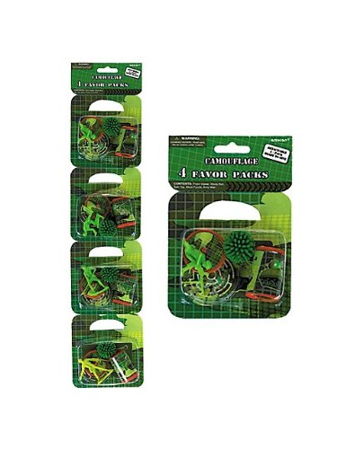 "Amscan Awesome Camouflage Favor (4 Pack), 2 x 4.4"", Green - 1"
