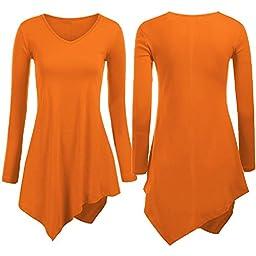 Generic Orange Women\'s Loose Tops Long Sleeve Shirt Casual Blouse Round Neck