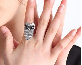 Pro Base Special Unique Attractive Retro Antique Vintage Classic Brass Punk Rock Metal Black Rhinestone Adorable Cute Owl Design Adjustable Fashion Statement Ring